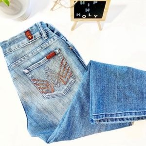 7 FOR ALL MANKIND Embellished Cropped Jean Size 28